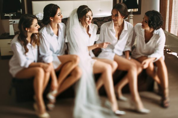Bride and her friends have a nice conversation